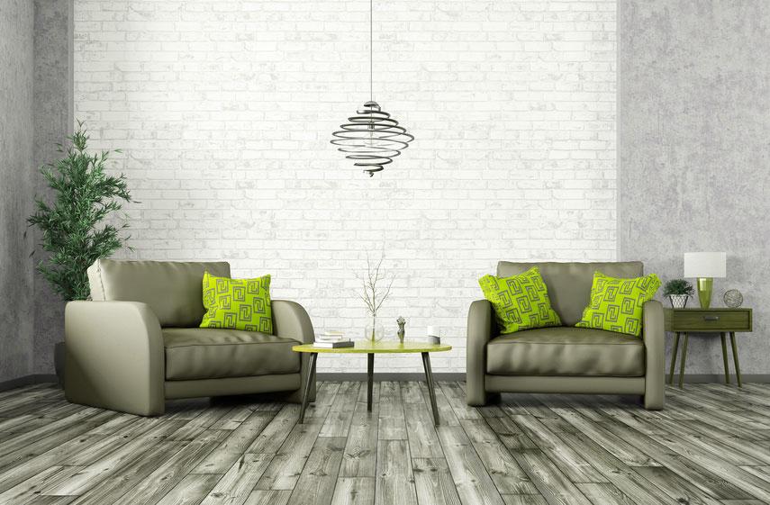 Psychologische Beratung zeigt zwei gemütliche Sofas in geschütztem Raum